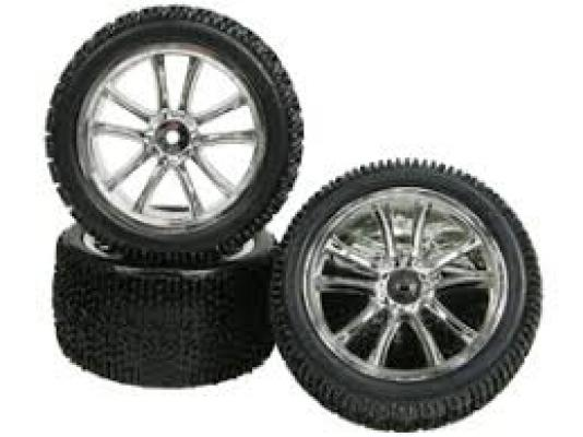 Tamiya DF-03 5 Spoke Tyre And Rim Set - Silver Color - 3RACING WH-15/SI  [WH-15/SI]
